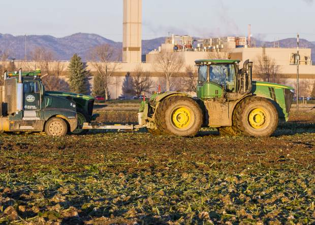 Once the semi-trucks start to take on a load of sugar beets, they have difficulty keeping up with the harvesting platform in the wet fields. The solution is for the trucks to be pulled by the massive 4WD John Deer 9410R tractor. The tractor's 13.5L 6-cyl diesel develops 451 hp and pulls a semi fully loaded with 25 tons of beets with ease.