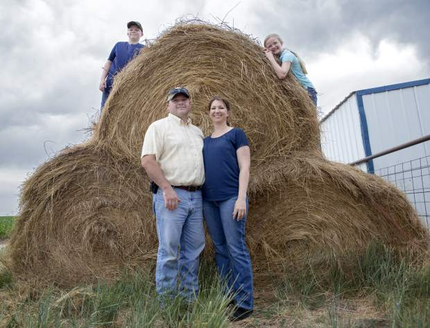 From left to right: Cole, Alan, Gail and Jordan Halley at a stack of hay on their farm in Kersey, Colo. For the family, 4-H is a place where they spend time with friends and family.