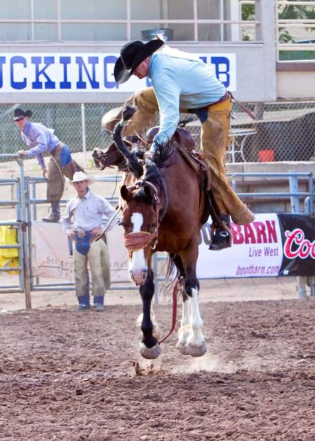 There are no style points in ranch rodeo saddle-bronc riding, and no deductions for being in this predicament. It is