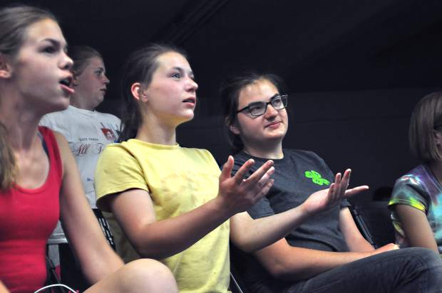 Lily Helzer, 13, throws her hands up in frustration at the Colorado Dairy Youth Extravaganza quiz bowl Sunday. Team No. 2 kept getting difficult questions.