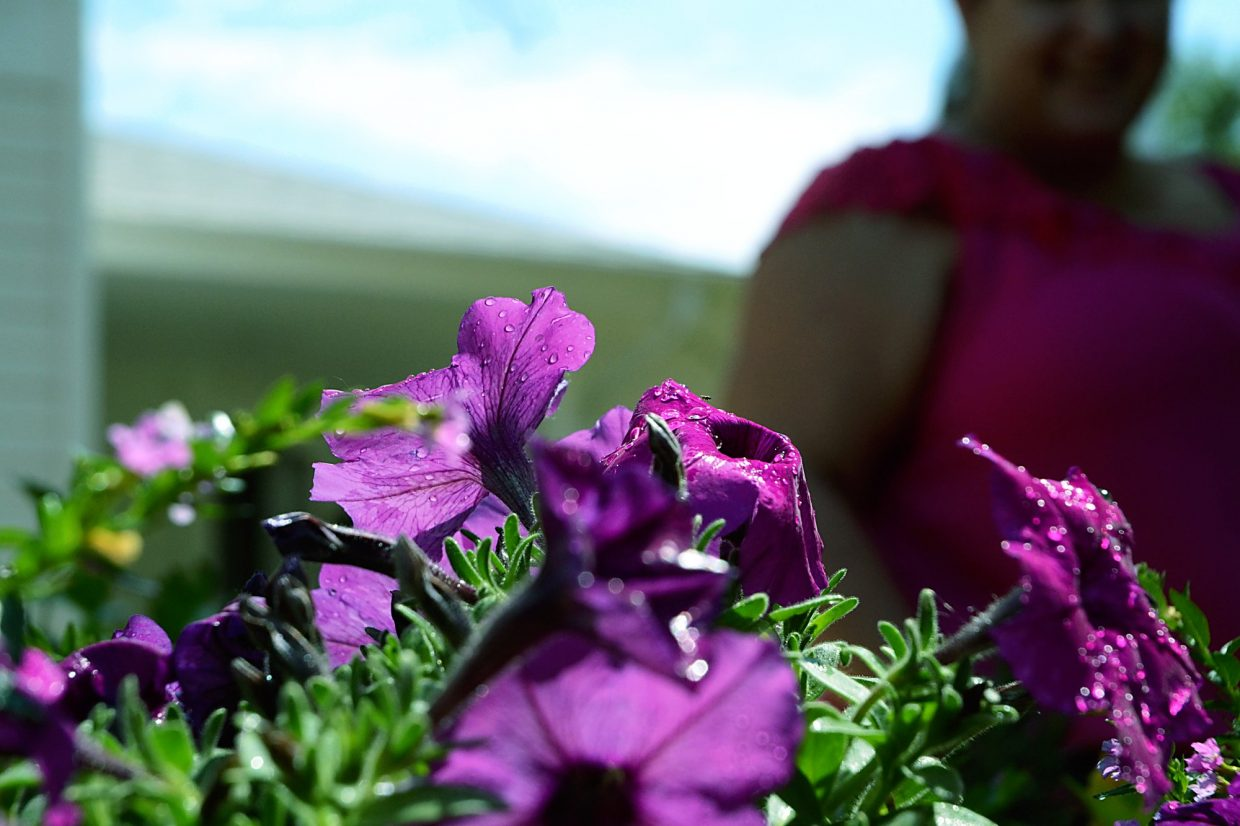 Some freshly watered flowers glint in the sun while Christina Morris looks on at the Stephens Farm Brain Injury Campus in Greeley.