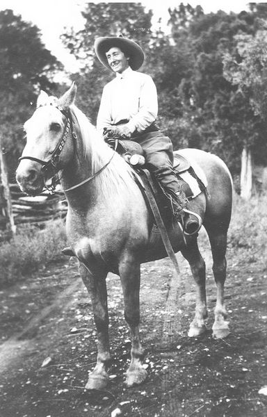 A young Marie Scott horseback in her earlier ranching days. Photo courtesy of Mario Zadra.
