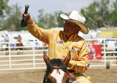 <b>Tony Bruguiere</b>Friends and fans are very important to four time PRCA Announcer of the Year Hadley Barrett, and he always takes time to say