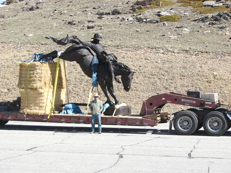 A semi truck brought the 3,500 pound sculpture from Buffalo to Kaycee, Wyo., to be placed in the Chris LeDoux Memorial Park.