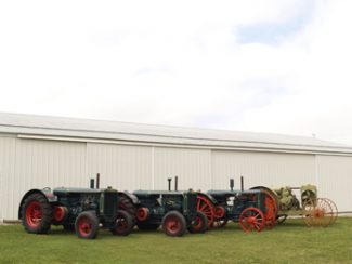 Pictured is the Waines Brothers complete lineup of their exquisitely restored Huber tractors. From (L/R); model HS 27-42, model HK 32-45, Light Four 20-36 and Super Four 15-30.