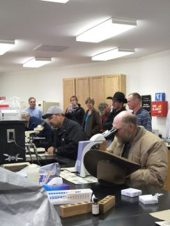 Photos By Caroliine Sabin of North Platte, Neb.Nebraska College of Technical Agriculture-University of NE (NCTA) Veterinary Technology Lab was the site where participants attending the NCTA Cow/Calf College viewed microscope slides of internal parasites.