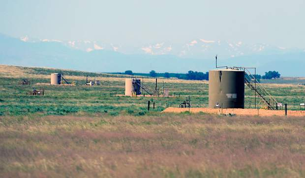 Oil and gas well sites dot the landscape on the Guttersen family ranch near Kersey. The Guttersens have allowed  oil companies to drill on their land since the mid 1980s. Guttersen works hard to keep a balance between cattle and oil on his ranch. He says: