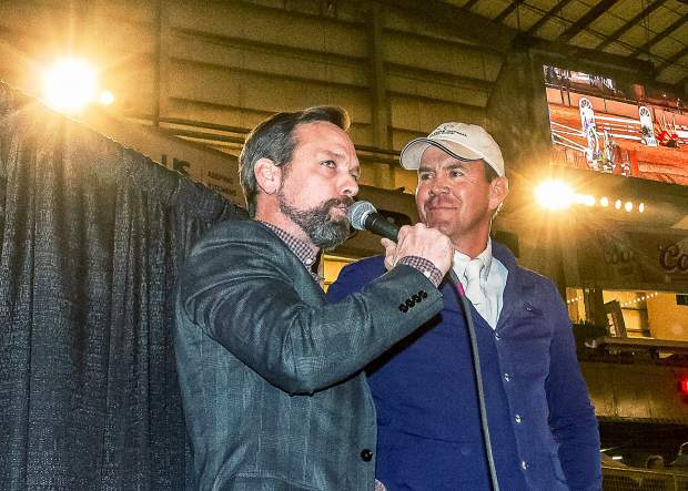 Event Announcer Brian Lookabill from Lexington, Kentucky interviewed 2015 Gambler's Choice Campion Matt Cyphert of Dallas, Texas, before the event. Cyphert said that he looked forward to coming to the Stock Show and jumping for the knowledgeable and enthusiastic fans.