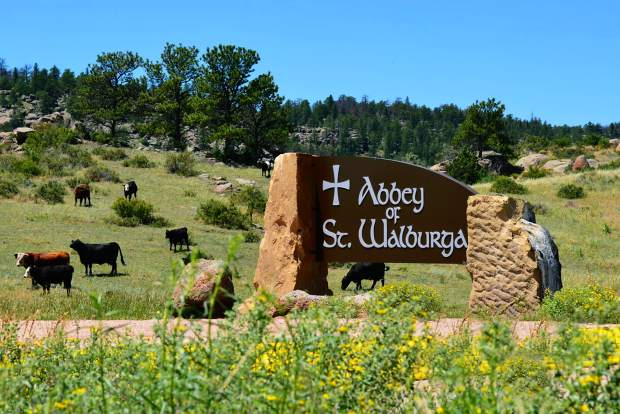 The front entrance to the Abbey of St. Walburga, off of Colo. 287, with some of the herd behind the new sign.