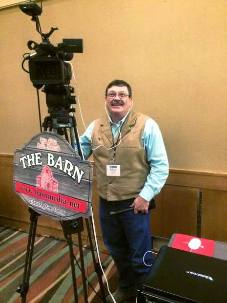 Brian Allmer broadcasts live from an event.
