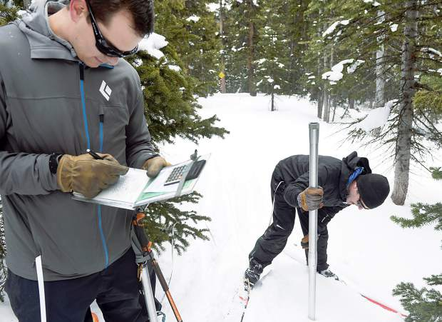 Brian Domonkos, left, the Colorado Snow Survey supervisor, writes notes while Mike Ardison, a hydrologic technician, takes a measurement of the snow at the Berthoud Summit Snotel area.