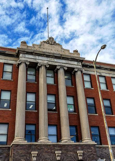 The Denver Union Stockyards Exchange building and its classic Ionic columns was built in 1916 during the heyday of the cattle business in Denver.
