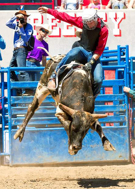 The young bulls in the junior bull riding division are too young to be ridden by the older boys, but that does not mean they are going to be easy, as Brandon Loos found out when he drew this high flyer at the MSYG event during the Greeley Stampede Kids Rodeo.