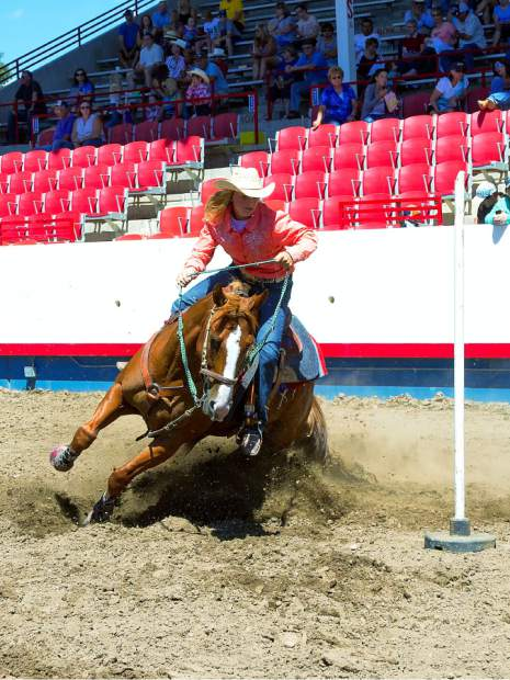 Taylor Hendrix is a great example of the strength of the girls that came up from Yuma County to compete in barrels and poles at the Greeley Stampede Kids Rodeo.