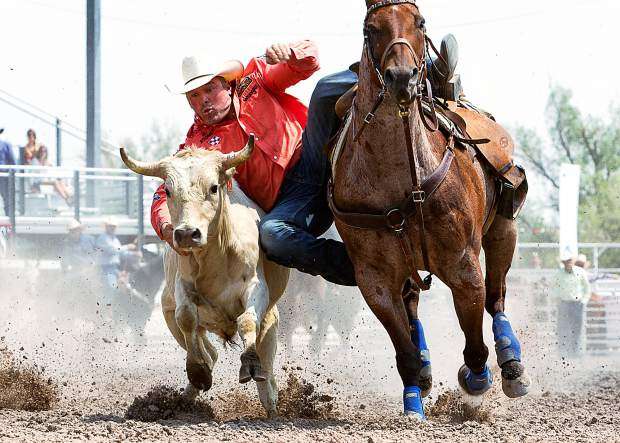 Texan K.C. Jones, the steer wrestler on the Rodeo Austin team, was the man to beat in the Cheyenne Frontier Days Cinch Shootout. Jones had the best time in the first round with a 9.29 second run and followed with an even faster time of 8.8 seconds in the final round to win the $10,000.