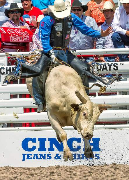 Bull Rider, J.W. Harris qualified for the CFD Cinch Shootout by winning at the Fort Worth Stock Show. Harris' winning ride at Cheyenne of 90 points on Smith Pro Rodeo's Sipping Pendleton gave him the $10,000 winner's prize.