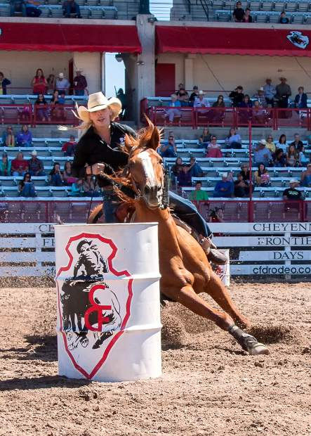 The fast pace of barrel racing at Cheyenne Frontier Days makes it one of the most popular events.