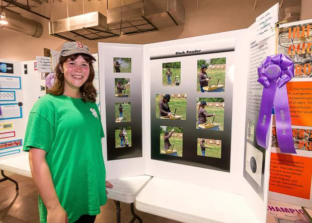 Sixteen year old Sarah Laffey won the 4-H Shooting Sports Champion Ribbon with her Black Powder project. Sarah qualified for the State Finals in Black Powder and .22 despite the fact that she had never fired a gun before.