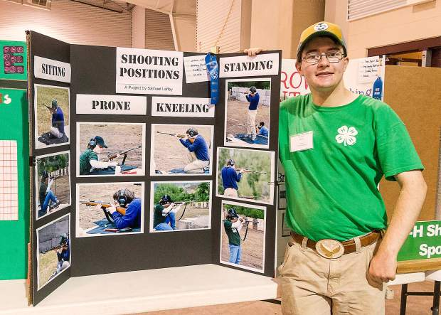 Samuel Laffey is justifiably proud of his Reserve Champion project for Shooting Sports. Samuel's skill with a .22 rifle qualified him for the 4-H State Championships at Colorado Springs later this year.