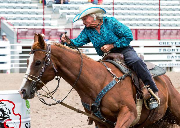 In 2005, at the age of 62, June Holeman of Arcadia, Nebraska was the oldest person to compete at the National Finals Rodeo. That title still holds and June at 73 years young is still competing today! She had a respectable time of 18.62 sec at the 120th Cheyenne Frontier Days.