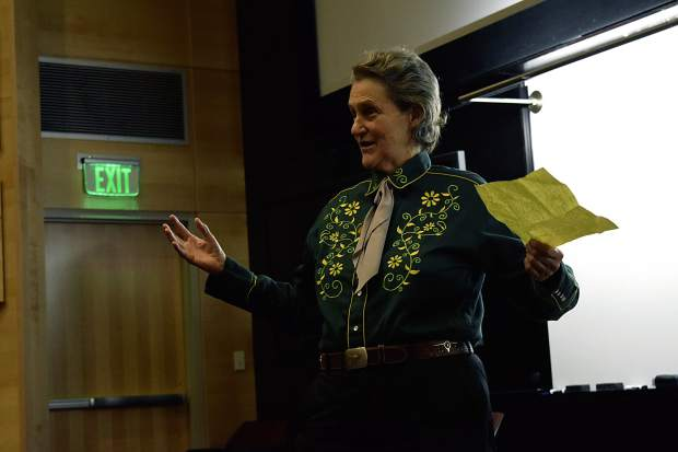 Colorado State University professor Temple Grandin addresses the public on the importance of transparency along the supply chain in satisfying consumer curiosity.