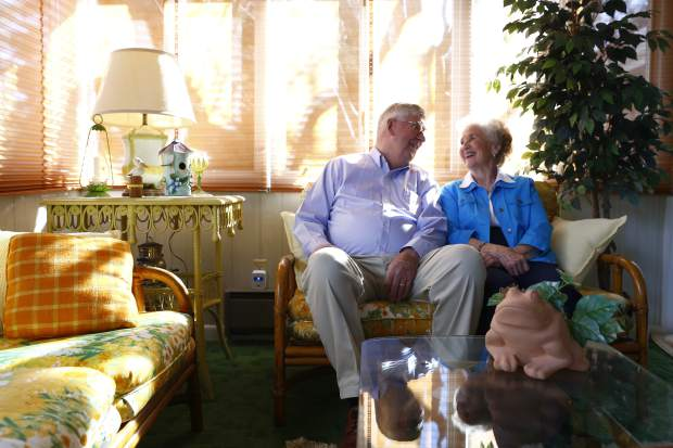 Bill and Sylvia Webster sit on their patio at their home Tuesday in Greeley. Bill will be inducted into the Farm Credit Colorado Agriculture Hall of Fame in February and said his wife played a major role in success.