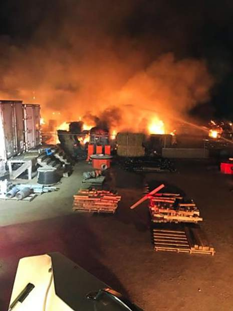 When Eaton firefighters arrived around 3 a.m. to the scene of a barn fire at 621 O St., firefighters attempted to fight the fire from the adjoining property, owned by Valley Irrigation. Twenty-two animals inside the barn died.
