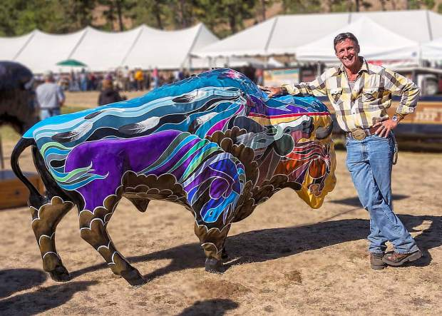 Well respected Loveland, Colo., artist Ross Lampshire and his life size buffalo were chosen to be included in the auction at the 2012 Custer Buffalo Roundup Arts Festival.