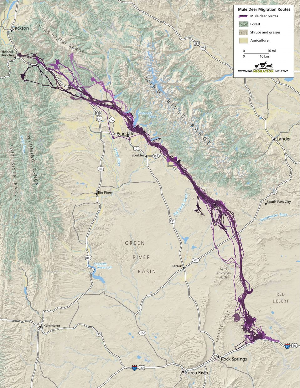 Map of the mule deer Red Desert to Hoback Basin migration stretching 150 miles from Rock Creek, Wyoming, almost to Jackson.
