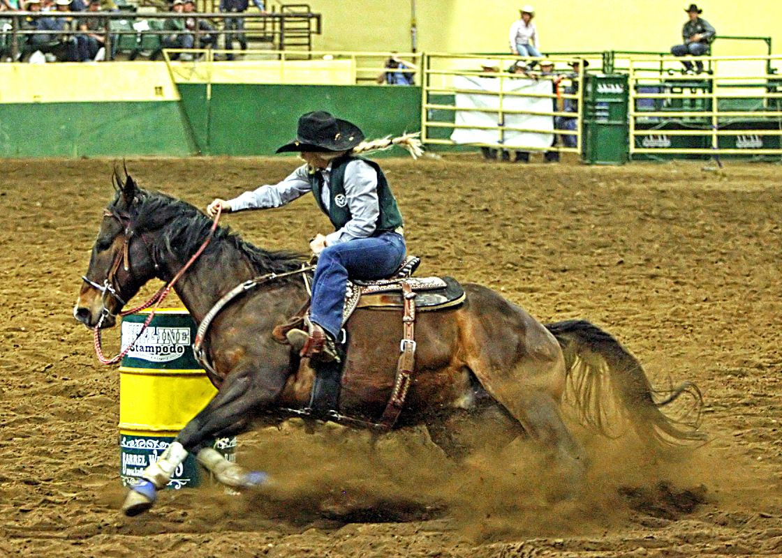 Colorado State University freshman barrel racer, Lake Mehalic, dug around the second barrel on her way to a 14.76-second time and the opportunity to compete in Sunday's short go at the 67th annual Skyline Stampede Rodeo in Fort Collins. Mehalic ended up winning the barrel racing title at the rodeo.