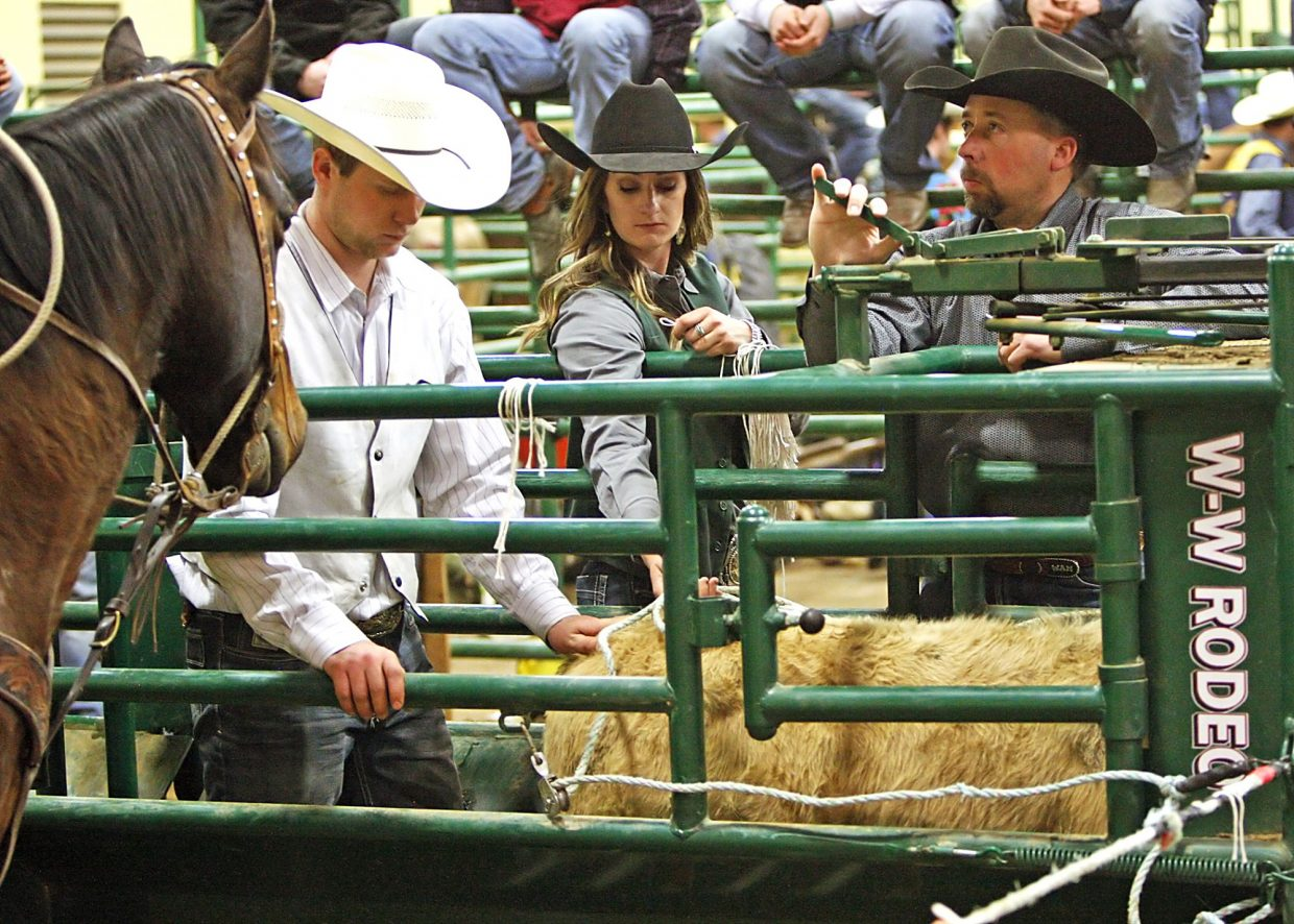 CSU Rodeo Club president, Kristen Grave (center), spent time behind the scenes throughout the rodeo to help make it as successful as possible.