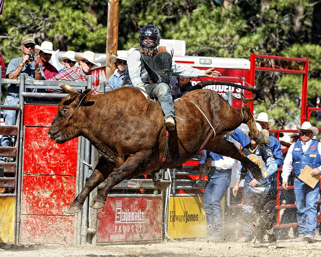 Utah bull rider Tyler Bingham, who had won June 2's Xtreme Bulls competition, had another crowd pleasing ride on June 4 (aboard Summit Pro Rodeo's Red Stuff), but he failed to notch a score as the judges determined he hit the bull with his free hand early in the ride.
