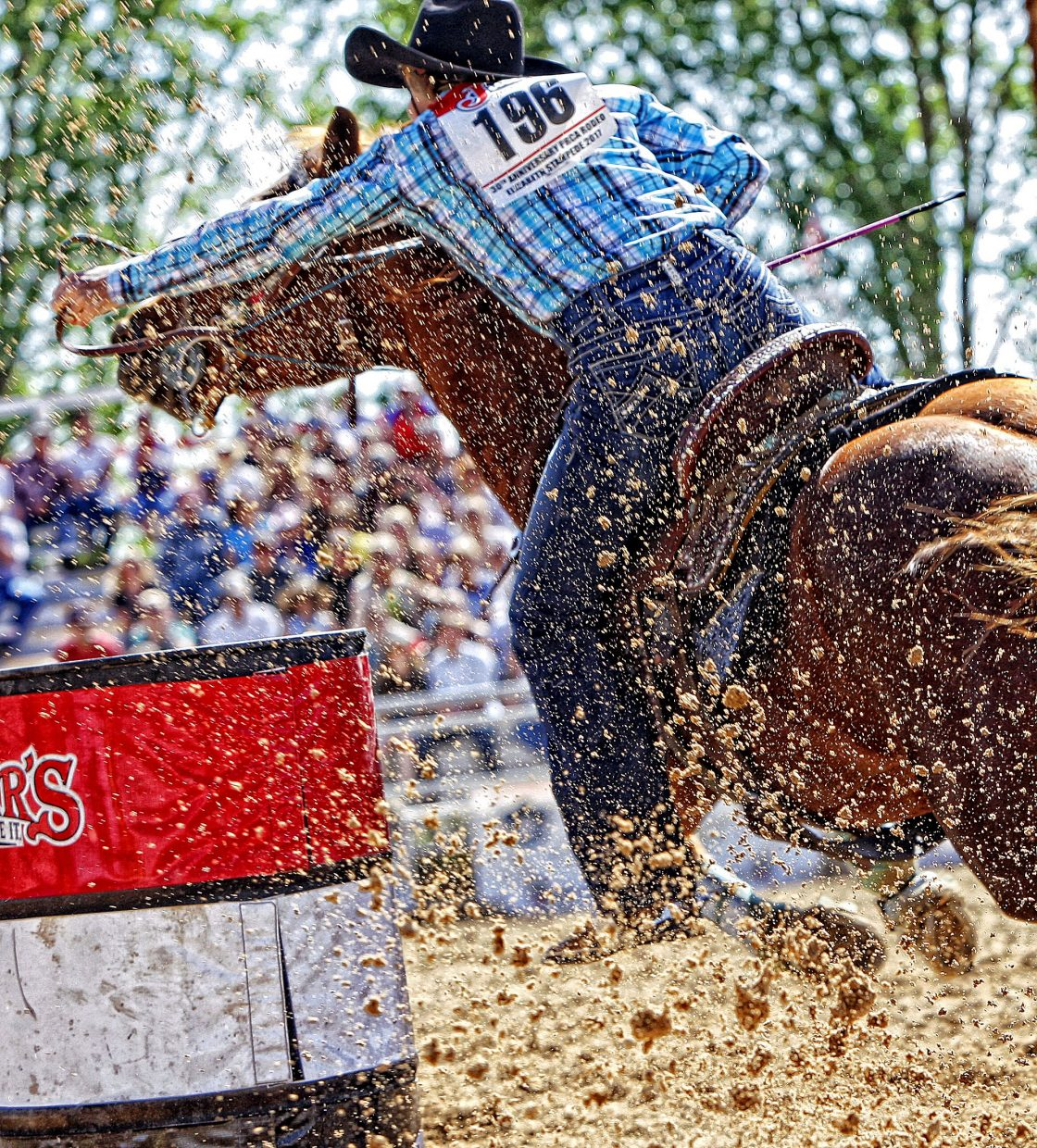 The barrel racing action at the Elizabeth Stampede Rodeo in Elizabeth, Colo., is always fast and furious, with 2017 being no different.