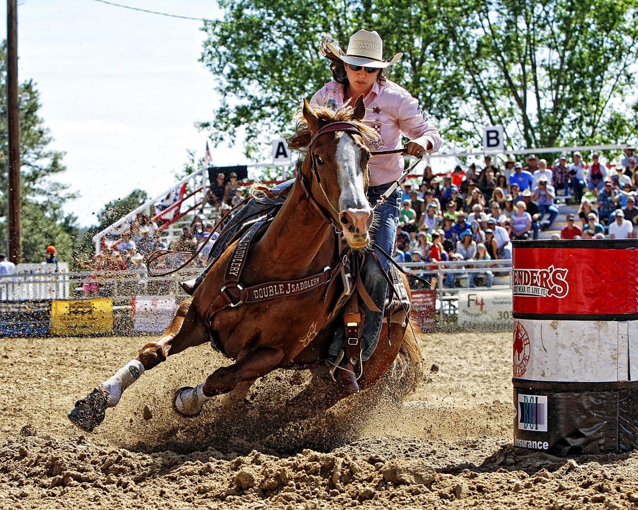 Multiple-time world champion barrel racer, Brittany Pozzi Tonozzi, entertained the big June 4 crowd with a quick 16.254-second run during 2017's Elizabeth Stampede Rodeo in Elizabeth, Colo. The small rodeo attracts big names in the sport on an annual basis.