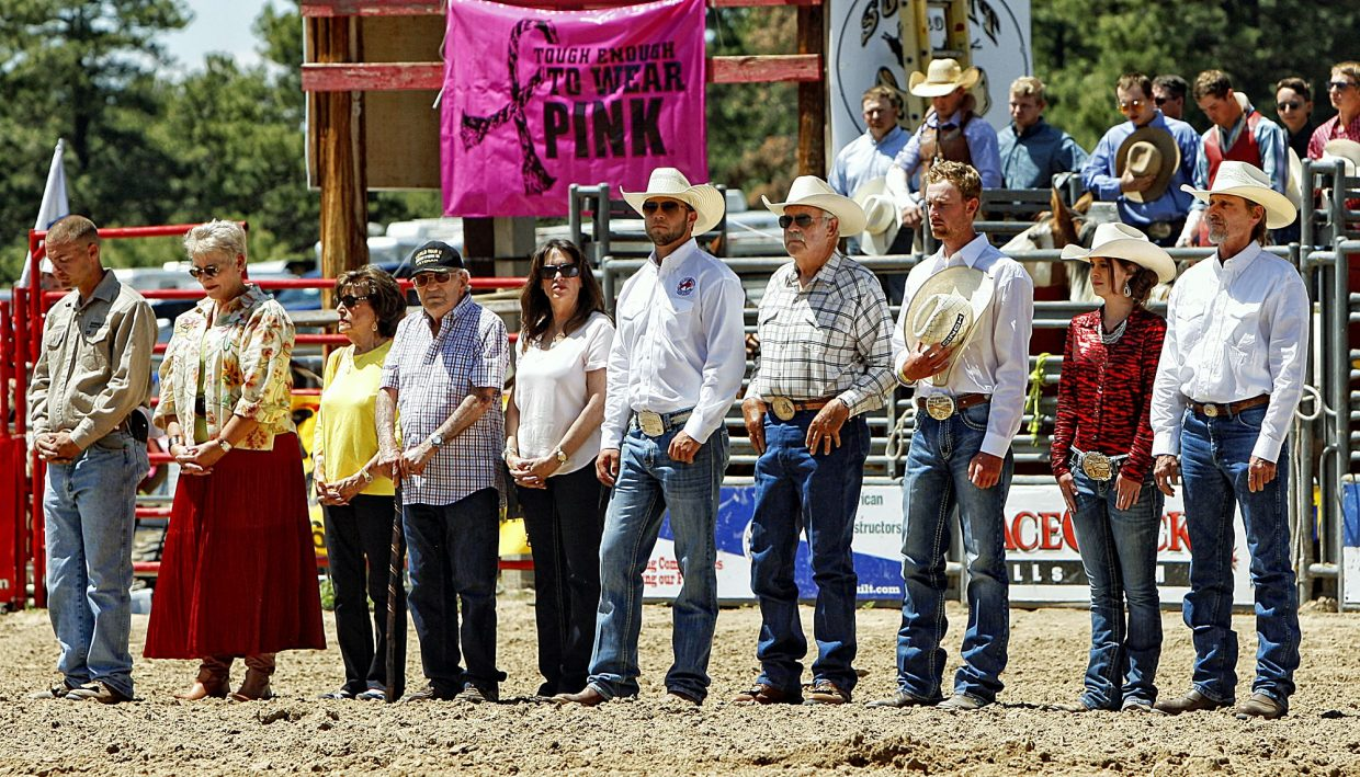 Four U.S. military veterans (accompanied by escorts) were honored inside the arena of the Elizabeth Stampede Rodeo before the start of Sunday afternoon action on June 4. Second from left - Patrician Quisenberry, U.S. Air Force Brigadier General, (Ret.). Fourth from left - Philip Zicarrelli, World War II 19th Combat Engineer Battalion, PFC. Fourth from right - Leo Thompson, Master Sergeant U.S. Air Force (Ret.). Far right - Larry Royston, Sergeant U.S. Army in Vietnam.