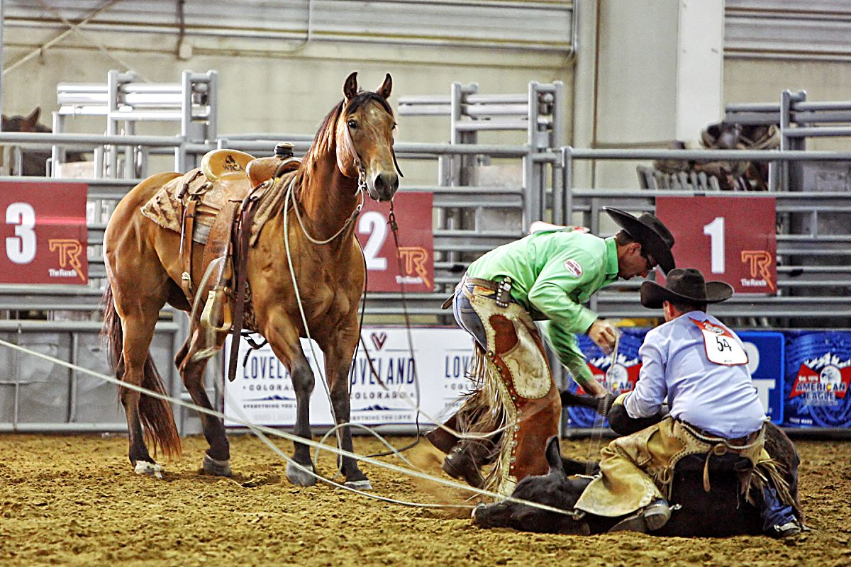 The Broken H/Hebb Cattle cowboys worked together as a team during the Stray Gathering event in Friday night's ranch rodeo at the third annual Rock'n Western Rendezvous.
