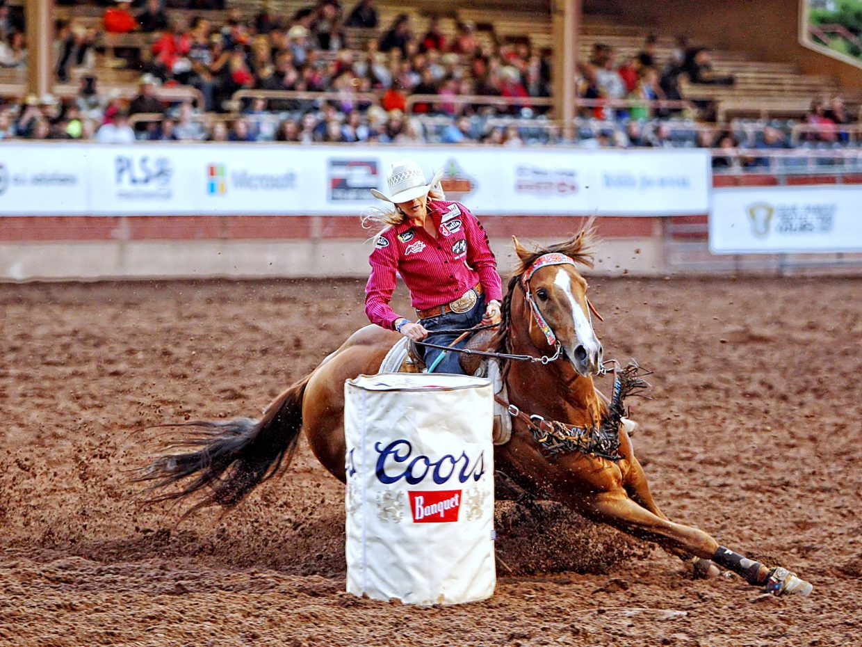 Home-state cowgirl Shali Lord had the crowd cheering during her run of 17.552-seconds on July 13 at the 2017 Pikes Peak or Bust Rodeo in Colorado Springs. In each performance, the top two finishers moved ahead to the championship round with a chance to earn another $15,000.