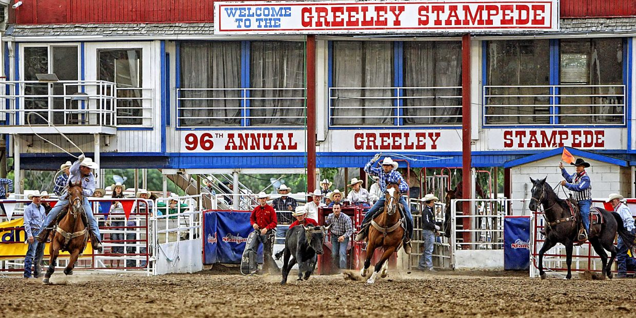 Pueblo, Colo., team ropers Tyler and Trevor Schnaufer made a run during the championship round of rodeo action at the 2017 Greeley Stampede.
