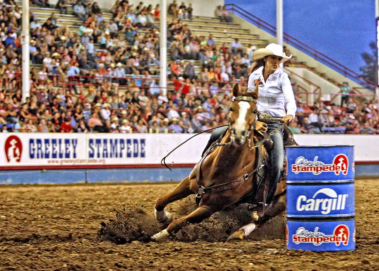 New Mexico cowgirl Sydni Blanchard had the fastest run of the entire rodeo with her 17.15-second time in the championship round of the 2017 Greeley Stampede on July 3. The time earned Blanchard the title at the 96th running of the historic Colorado rodeo.