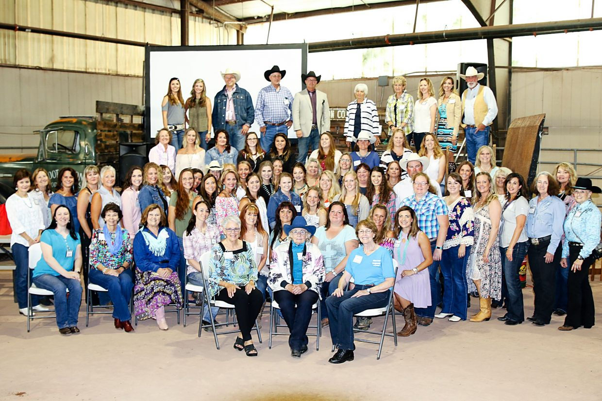 The 60th reunion photo at the 2017 Pikes Peak or Bust Rodeo gave the up-front place of honor to three of the earliest members located so far. Efforts continue to locate more alumnae.