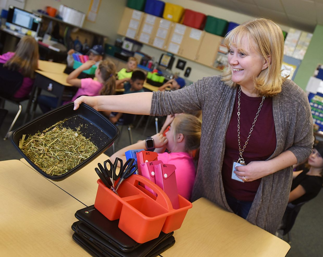 Roxie Butkus shows students in her class some of the feed used to keep dairy cows healthy and fed during the Adopt a Farmer event Oct. 25 at Range View Elementary in Severance, Colo.