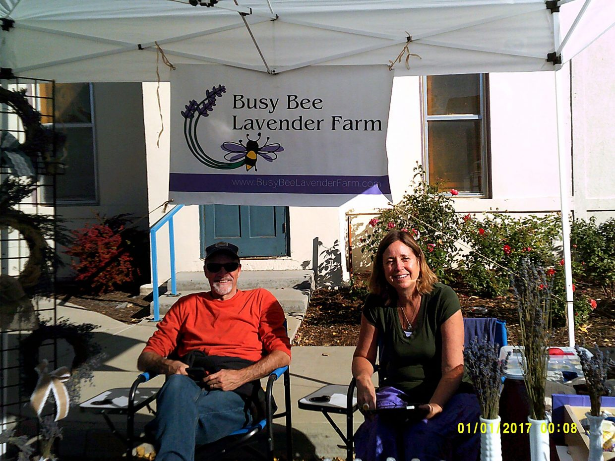 Robin and Jenny Phillips enjoy their vendor location beside the Timnath Church at the 2017 Timnath Fall Festival in Timnath, Colo. The couple owns Busy Bee Lavender Farm in Fort Collins, Colo.