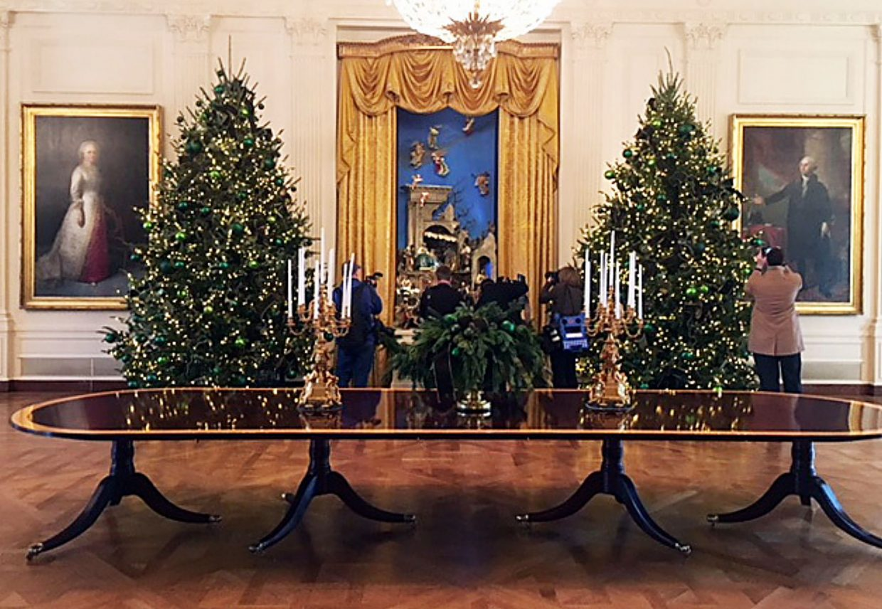 The East Room features the White House creche (background center), which is on display for the 50th year.