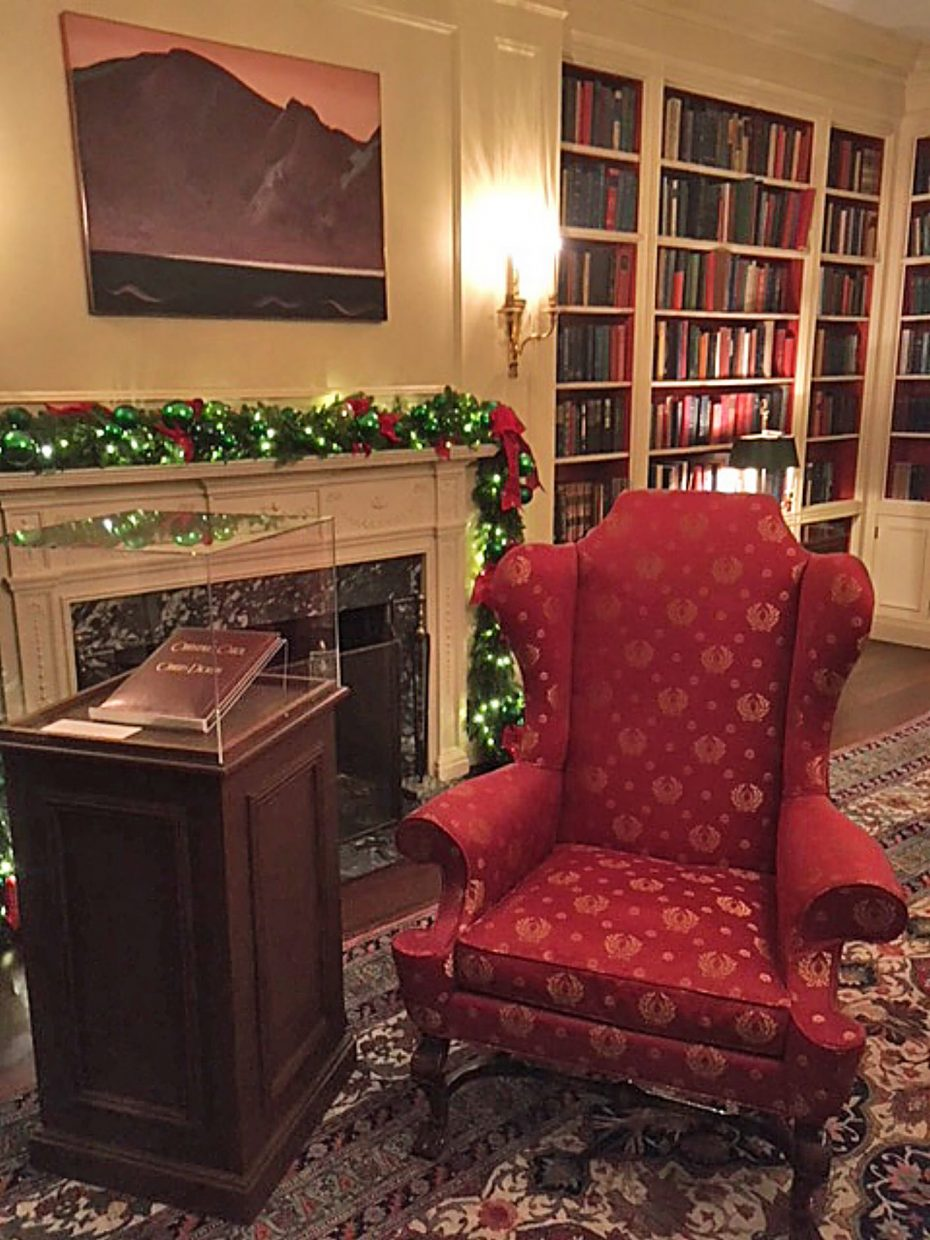 "The library is set up for someone to start reading Charles Dickens' ""A Christmas Carol,"" just as President Franklin Roosevelt did for his family."
