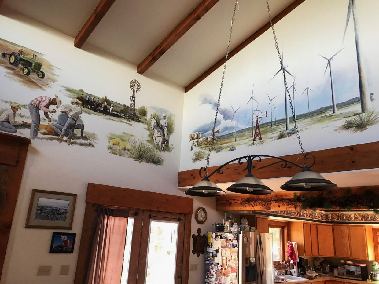 The second half of a mural that highlights changes at the ranch.