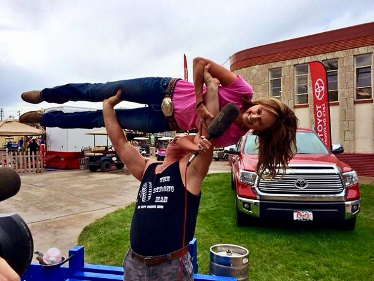 The Colorado State Fair isn't all work for Sabine who got a lift during a recent appearance in Pueblo.
