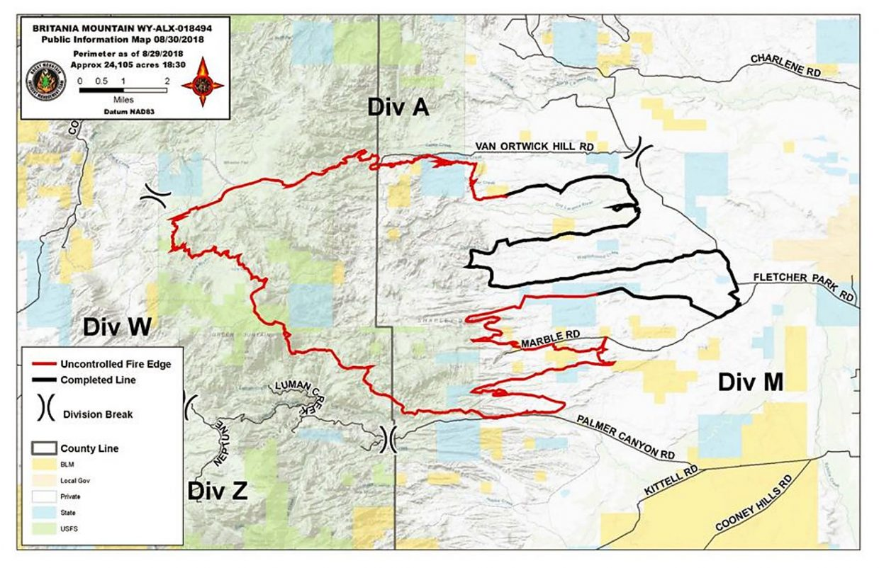 Britania Mountain Fire Burns Up More Than 24 000 Acres In Wyoming