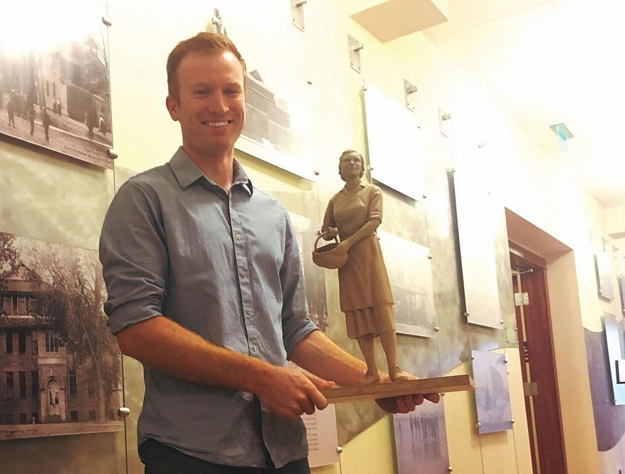 Artist Austin Weishel presented a maquette — a small, clay model — of the anticipated mother's statue.